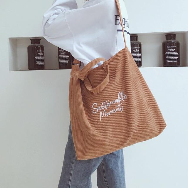 Women Corduroy Shoulder & Crossbody Bags Female Eco Cloth Handbag Large Capacity Zipper Totes Soft Embroidery Messenger Bag 2