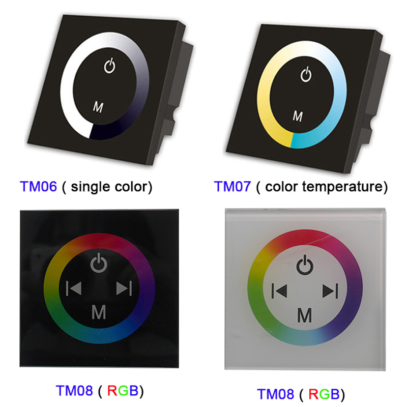 TM06 TM07 TM08 DC12V-24V wall mounted single color/CT/RGB led Touch Panel Controller glass dimmer switch for LED Strip light