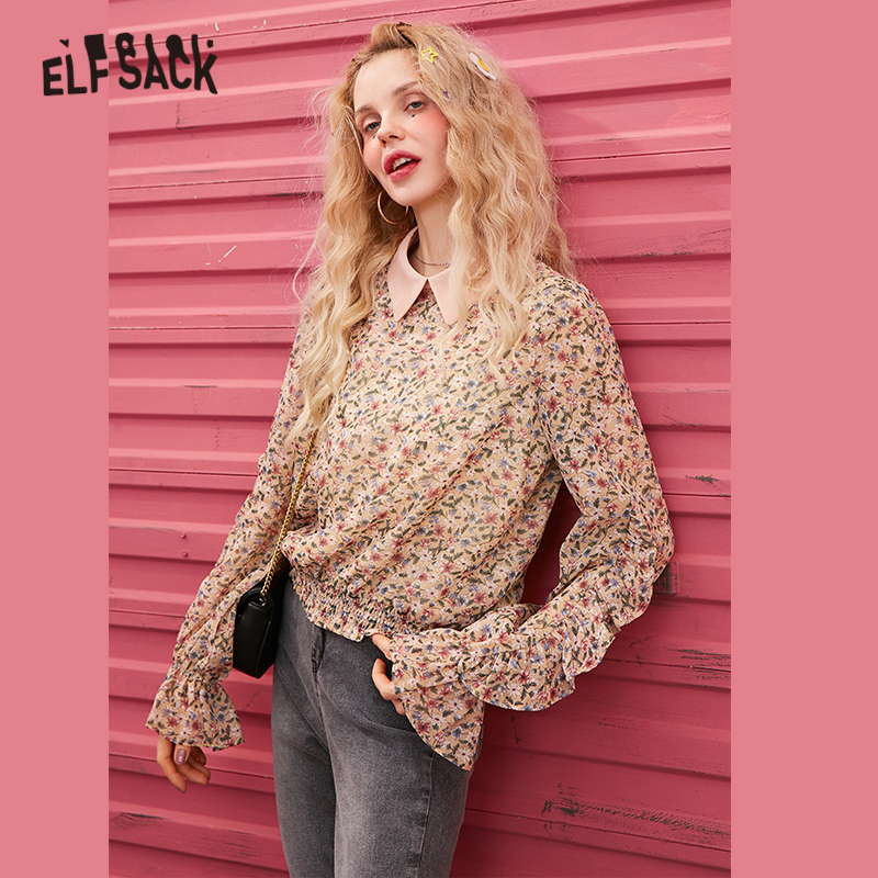 ELFSACK Black Floral Print Chiffon Casual Blouse Women 2020 Spring New Yellow Long Ruffles Sleeve Korean Style Ladies Daily Top
