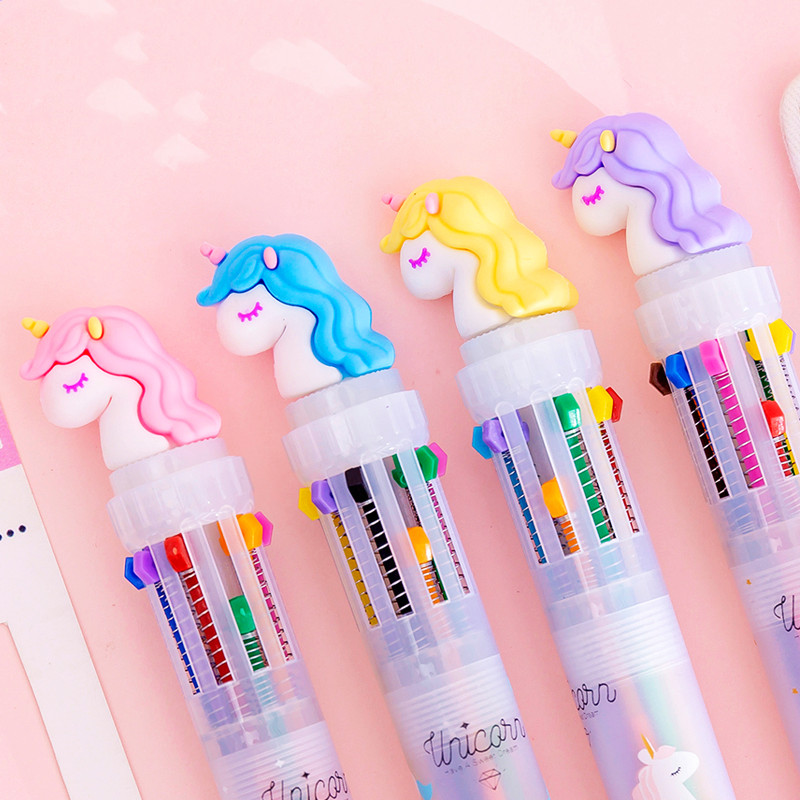1pcs Cute Unicorn Pens 10 Colors Press Ballpoint Pen Diy Decoration Bullet Journal Stationery Office School Supply Gift For Kid