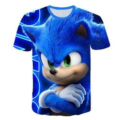 Симпатичная футболка с объемным мультяшным рисунком, детская одежда, летняя футболка с коротким принтом Соник Ежик, уличная одежда для маль...