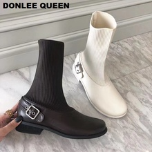Women Ankle Boots Fashion Metal Buckle Round Toe Low Heel Shoes Women Stretch Knit Socks Boots 2020 Autumn Winter Footwear Slip On Casual Shoes Soft Comfortable Boots Black Riding Boots Women zapatos de mujer Chaussure стоимость