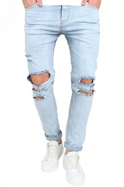 Spring Summer New Style Light Color MEN'S Jeans Blue Elasticity Slim Fit With Holes Men Long Fashion Pants