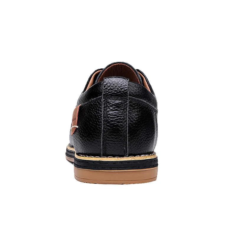 Mężczyźni oksfordzie oryginalna skórzana sukienka buty Brogue zasznurować męskie obuwie codzienne luksusowe marki mokasyny mokasyny męskie 2020 Plus rozmiar 38-48