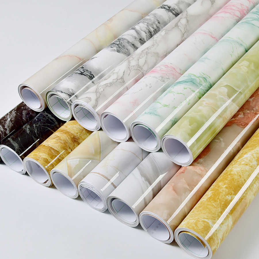 מודרני עמיד למים ויניל עצמי דבק טפט שיש קשר נייר מטבח ארון מדף מגירת אוניית קיר מדבקות