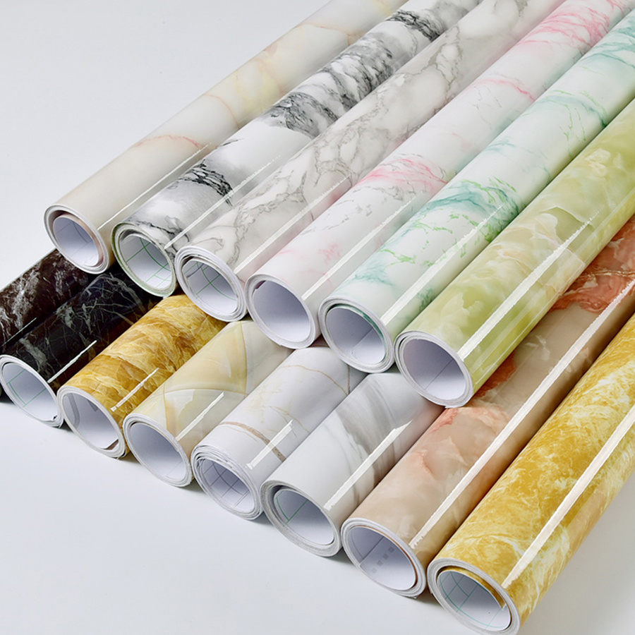 Modern Waterproof Vinyl Self Adhesive Wallpaper Marble Contact Paper Kitchen Cupboard Shelf Drawer Liner Wall Stickers