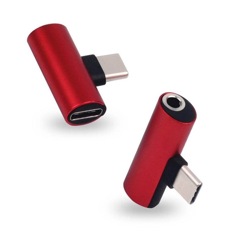 2 In 1 USB Type C To 3.5mm Jack Audio Headphone Adapter For Xiaomi Mi 9 Samsung Galaxy S10 Headphone Splitter Converter Adapters