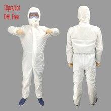 10 pces dhl terno de proteção descartável roupas de proteção antibacteriana química poeira prova de proteção