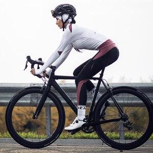 Image 4 - Santic pantalon de cyclisme professionnel pour femme, chaud, avec rembourrage 4D, réfléchissant et confortable, taille asiatique, S XXL, L9C04114