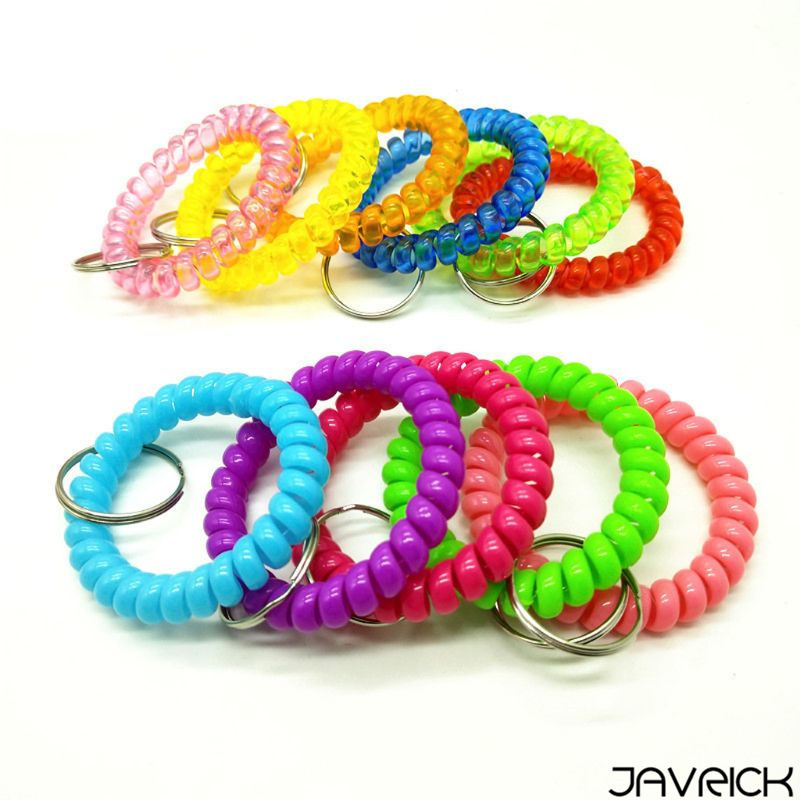 5Pcs Random Color Mixed Wrist Coil Keychains Stretch Wristband Key Ring For Gym Pool ID Badge