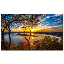 Beautiful Sunset Landscape Paintings on Canvas Wall Art Posters and Prints Natural Scenery Cuadros Picture for Living Room Decor(China)
