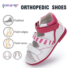 Princepard kızlar sandalet çocuklar ortopedik deri ayakkabı tatlı prenses pembe ve mavi düzeltici Sandalas yürümeye başlayan çocuklar için erkek kız