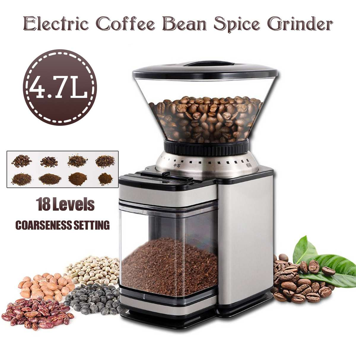 4700ML Electric Coffee Grinder Coffee Maker Machine Beans Mill Nuts  For Kitchen Office Cafe Stainless Steel 220V 120W 32 Cups