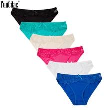 FUNCILAC Sexy Briefs Lace Women Panties Solid Underwear Embroidery Transparent Intimates Breathable Bow 6pcs/lot M-XL Blue Black