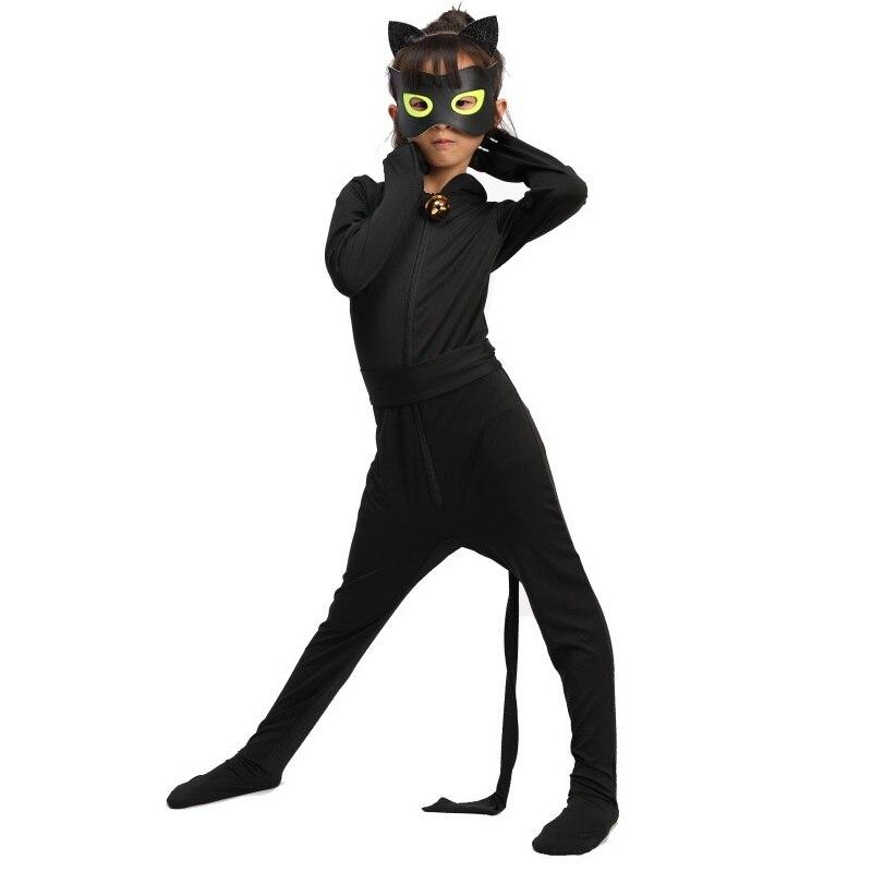 Quente carnaval roupas gato noir cosplay define lady halloween festa de natal custume macacão crianças meninas terno ponto 3-10y