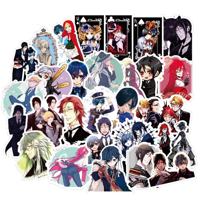 50pcs Japan Anime Black Butler Cartoon Stickers For Luggage Car Laptop Notebook Decal Fridge Toy Skateboard Sticker F3