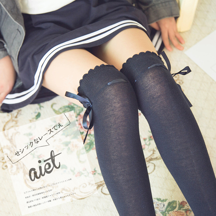 Lolita Lolita Japanese Girl Beautiful Legs Over The Knee Stockings College Wind Bow Ribbon Socks Beautiful Sweet Cute Students