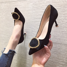 2019 Women Luxury Sexy High Heels Valentine Shoes Pointed Top Fetish Dress Black Metal Decoration