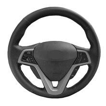 DIY de coser a mano de protector para volante de coche de gamuza de cuero de vaca de fibra de carbono para Hyundai i 30 2011, 2013, 2012, 2014, 2015, 2016, 2017
