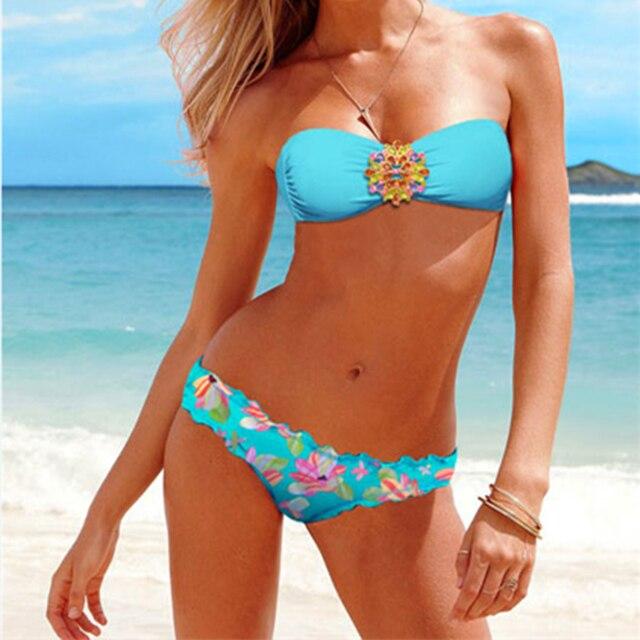 Frauen Diamant Schnalle Bikini Push-up Bademode Tube Top Badeanzug Bademode Bade Biquinis Zwei Stück Schwimmen Sommer