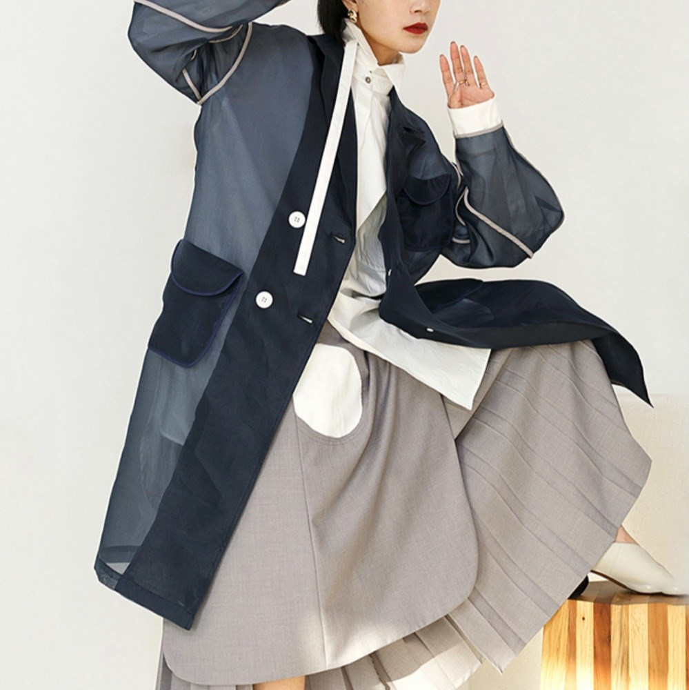 Fall Women Mesh Patchwork Long Sleeve   Trench   Turn-Down Collar Navy Blue Lapel   Trench   Double Breasted Pockets Long Coats