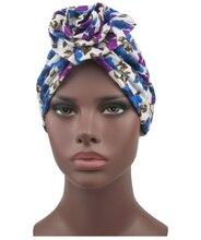 Mulheres muçulmanas turbante africano padrão nó headwrap moda quente bandana chapéus cachecol de cabelo accesorios para el cabello