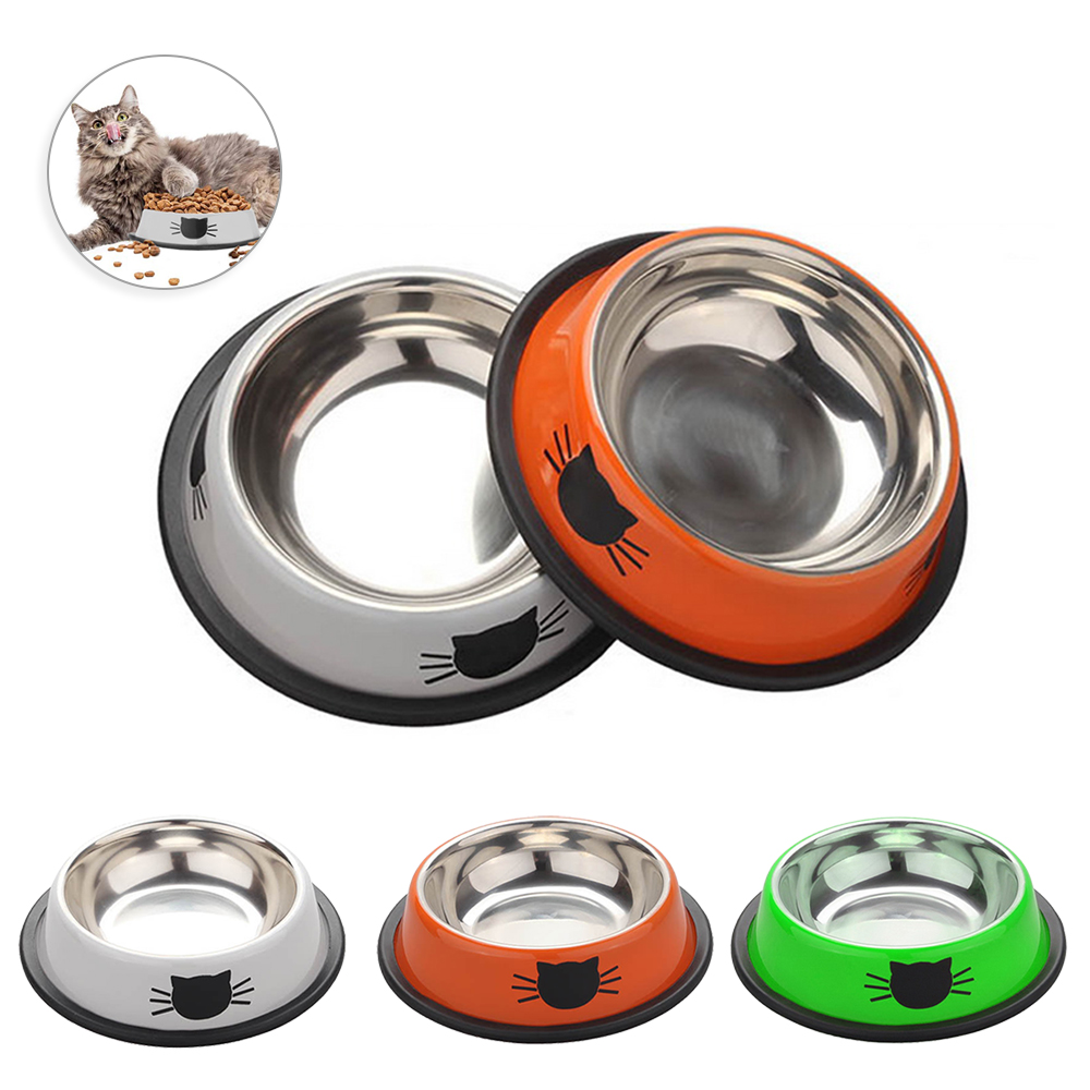 Stainless Steel Pet Dog Cat Food Bowls Pets Drinking Feeding Bowls Anti-skid Dogs Cats Water Bowl Outdoor Pet Drink Tools