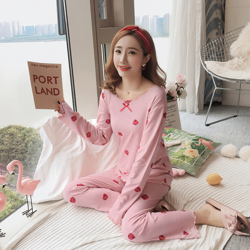 Autumn Women Cotton Pajamas Sets 2 Pcs Cartoon Printing Pijama Pyjamas Long Sleeve Bowknot Pyjama Sleepwear Sleep Set 46