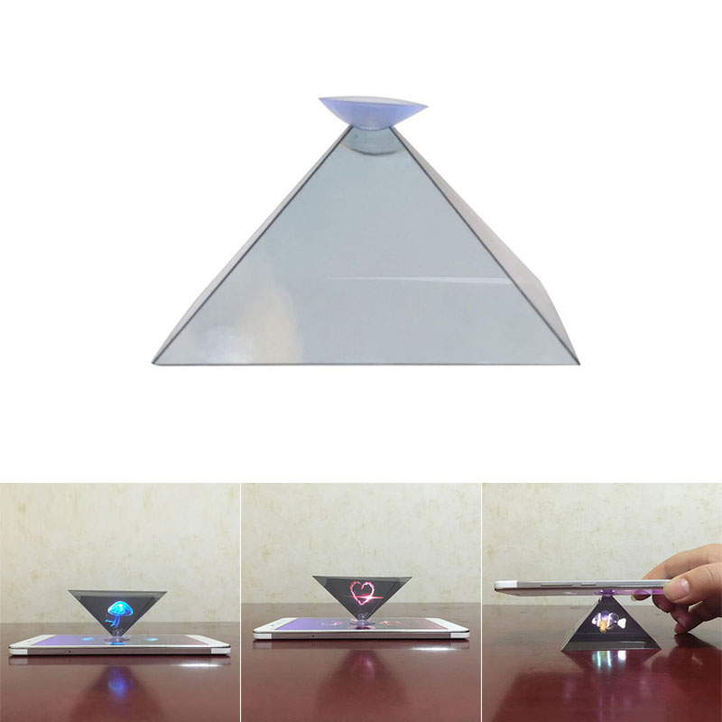 3D Hologram Pyramid Display Projector Video Stand Universal For Smart Mobile Phone GV99