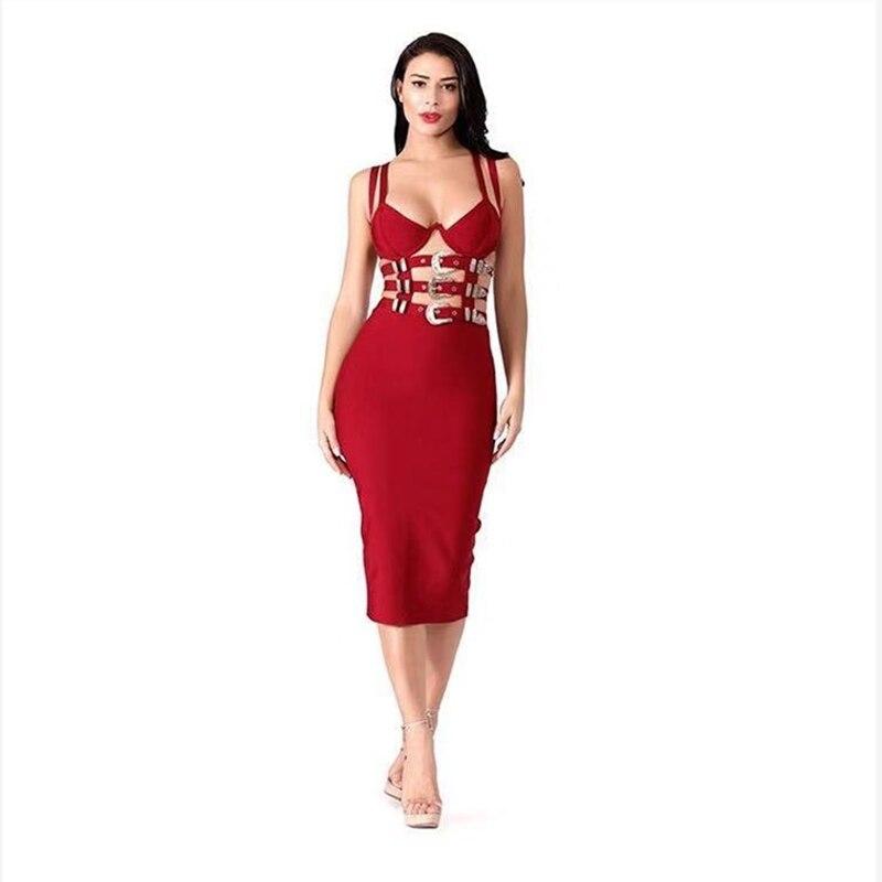 Robe d'été pour femmes 2019 chic métal ceinture spaghetti sangle noir rouge moulante robe de pansement célébrité fête vestidos de verano - 4