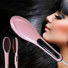 HQT-906 Ceramic Hot Comb Brush Negative Ions Temperature Control Balanced Humidity Hair Straightener Mini Hair Tools