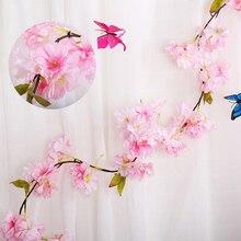 2 шт. искусственный вишневый венок из виноградных листьев, висячий цветок 1,77 м