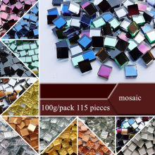 100g=115 Pieces Mini Square Glass Mirror Mosaic Tiles Bulk DIY Craft Making Supplies Wall Decoration Handmade Materials 10x10mm
