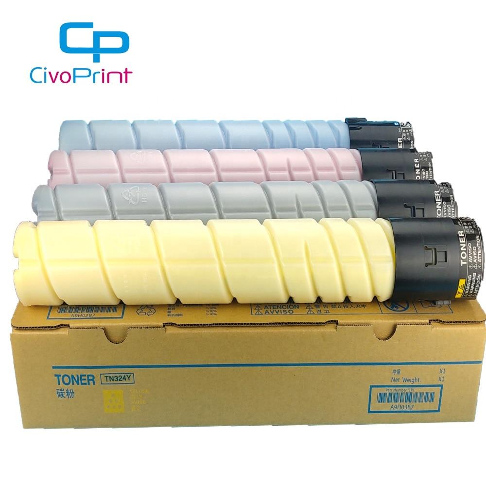 Replacement for Konica TN324; Models: BizHub C258 Myriad Compatible Assorted Toner Cartridges Bulk: CKTN324 4 Assorted Toner Cartridges C368; Asst Colors BCMY Ink C308