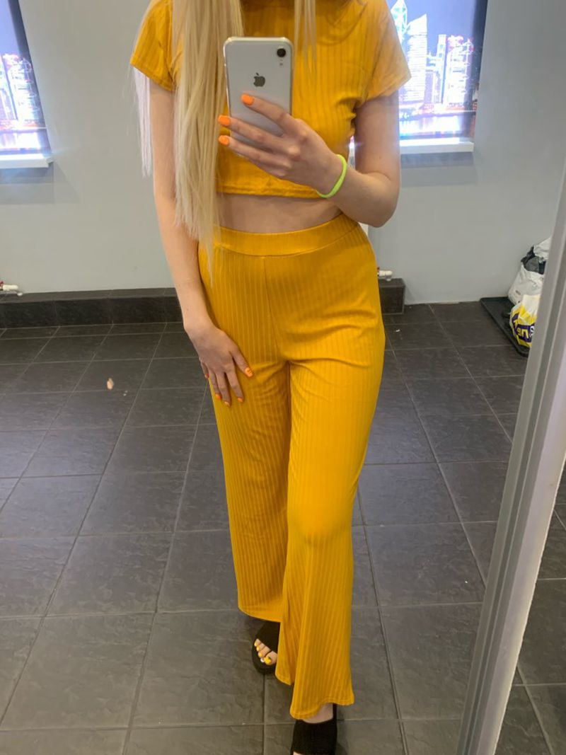 2 Two Piece Set Women Ribbed O Neck Crop Top and Long Pants Set Sexy Autumn Short Sleeve Tracksuit Women Conjunto Feminino 19 32