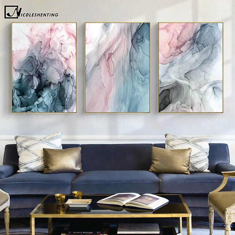 หมึกบทคัดย่อ Wall Art ผ้าใบโปสเตอร์และพิมพ์งานศิลปะภาพวาดร่วมสมัย Nordic Home Room ตกแต่ง