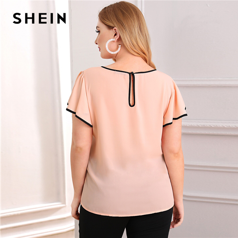 SHEIN Plus Size Pink Contrast Binding  Butterfly Sleeve Peekaboo Blouse Top Women Summer Keyhole Back Elegant Plus Blouses 2