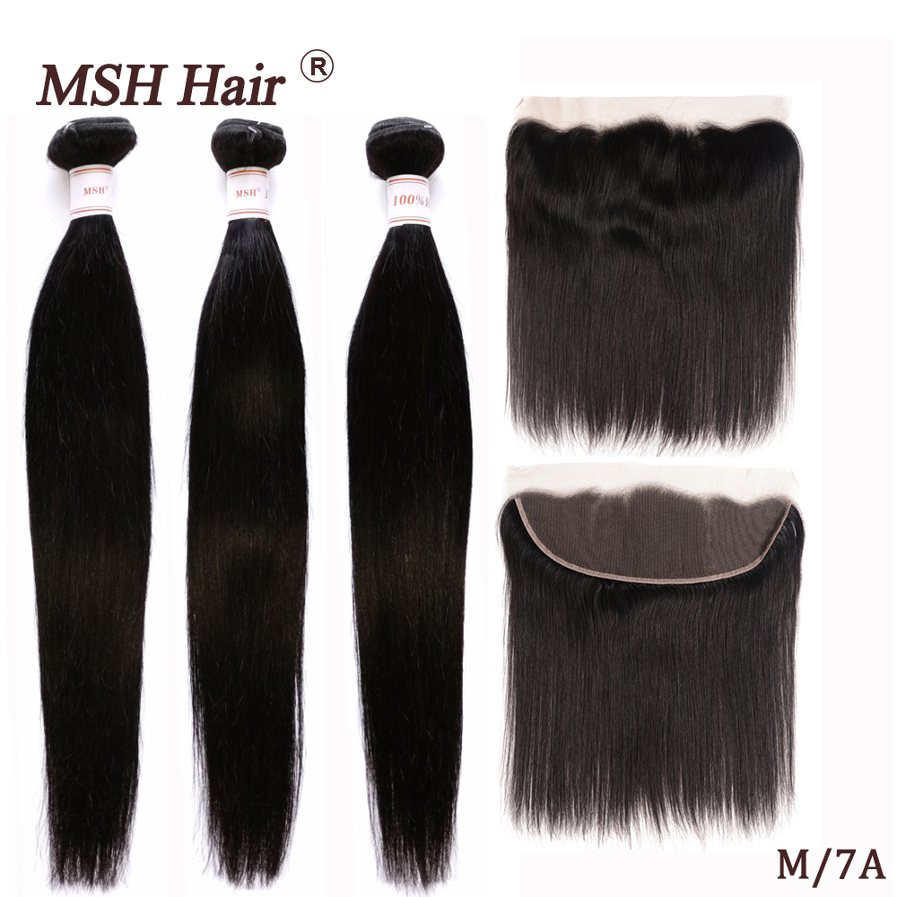 MSH Hair Peruvian Straight Hair Lace Frontal With Bundles 100% Human Hair Bundle With Frontal Medium Ratio Non-Remy