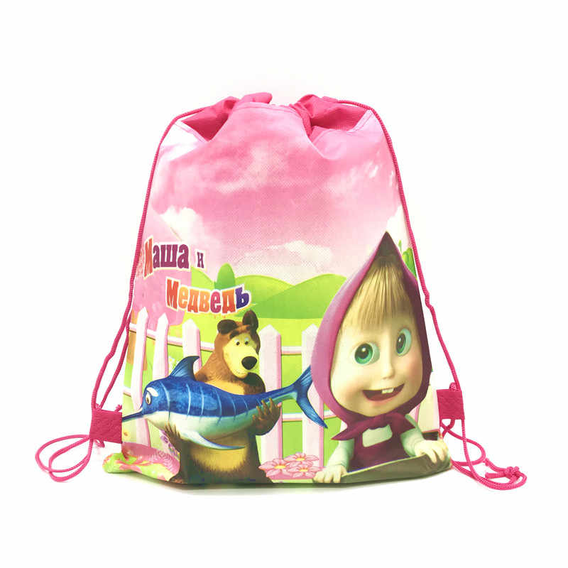 ماشا والدب موضوع الاطفال تفضل Mochila حفلة عيد ميلاد غير المنسوجة الأقمشة الرباط حقائب للهدايا زينة الحمام الطفل على ظهره