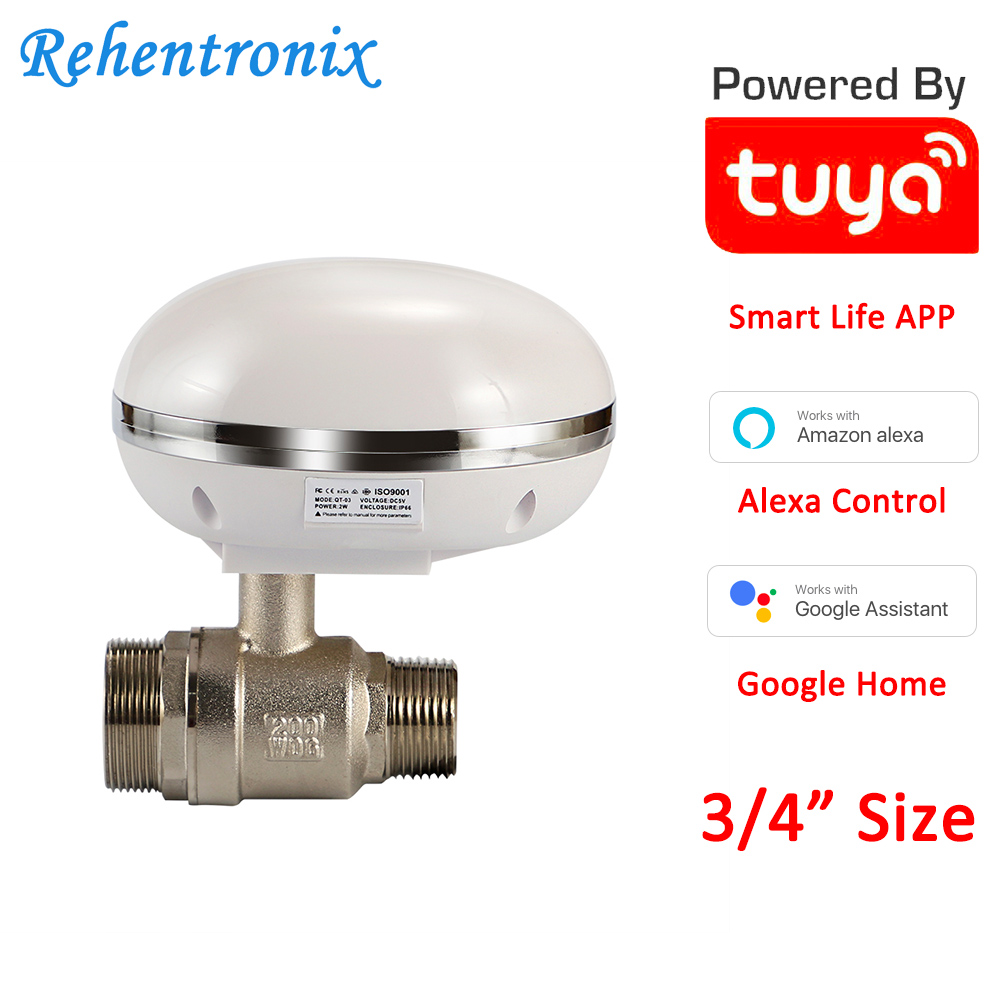 Works With Alexa Google Home Assistant Tuya Smart Gas Water Valve IP66 Waterproof 3/4 Size Smart WiFi Valve