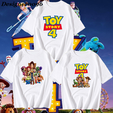 Movie Toy Story 4 Cosplay Costume Toy Story Woody Buzz Lightyear Clothes Summer Refreshing Adult Cartoon Short Sleeve T-Shirt цены