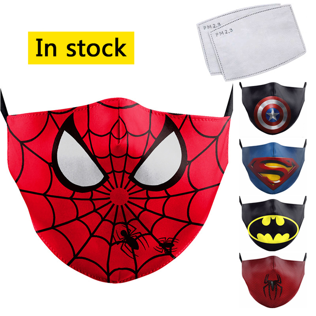 Cartoon Cute Superhero Spiderman Superman Captain America Kids Mask Print Face Masks Reusable Children Mask Fabric Dust Masks