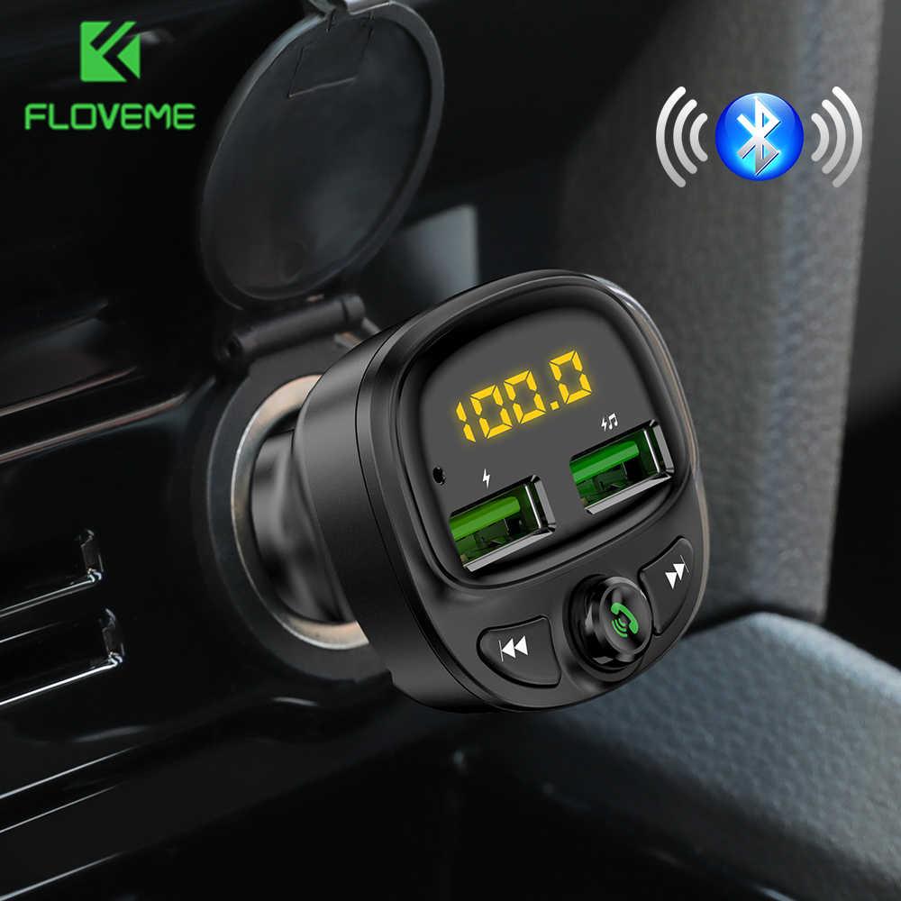 FLOVEME chargeur de voiture Fm transmetteur Bluetooth voiture chargeur rapide 3.4A MP3 TF carte musique double USB voiture téléphone portable charge voiture Kit