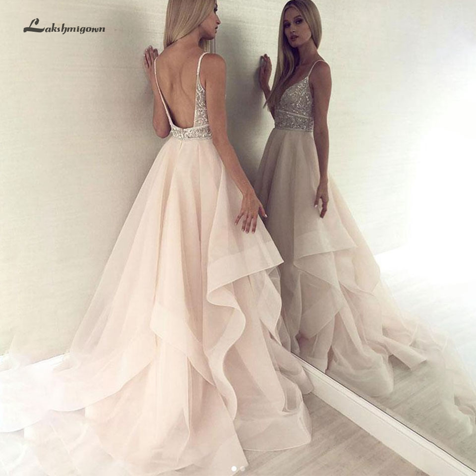 Sexy Women Backless Beach Wedding Dress Blush Pink Lakshmigown Crystals Beading Bridal Dress 2020 Robe De Mariage Wedding Gowns