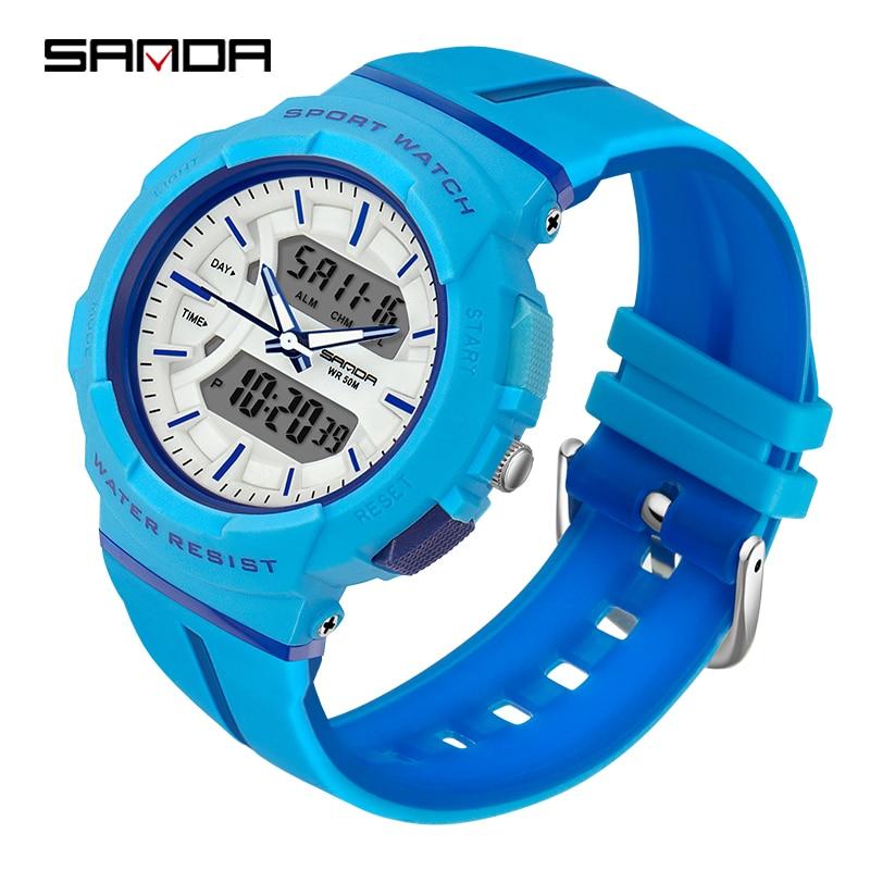 Montres femme mode robe Bracelet haut marque SANDA montre-Bracelet luxe Anti-chute chronomètre montre numérique fille heure réveil 6