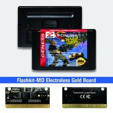 """קונטרה קשיח חיל ארה""""ב תווית Flashkit MD Electroless זהב PCB כרטיס עבור Sega Genesis Megadrive וידאו קונסולת משחקים"""