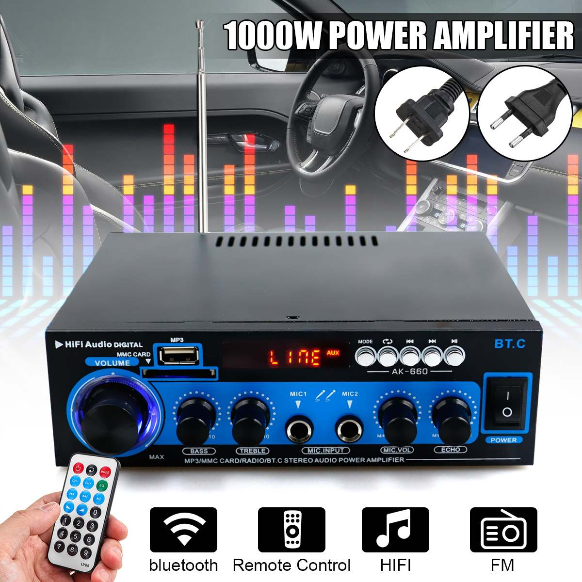 1000W 2CH HIFI Car Home Theater Amplifiers Stereo Audio Bluetooth FM Radio Power Home Amplifiers Subwoofer With Remote Control