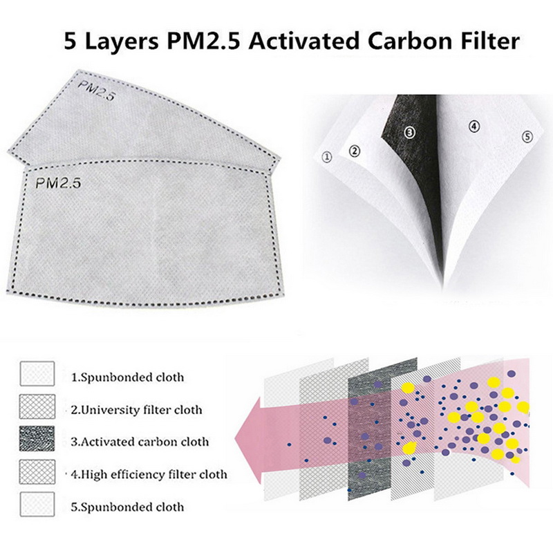 100PCS 5-layer Protective Filter Mask Filter PM2.5 Child Mask Chip Dustproof Haze Prevention US  CZ BE Fast Delivery 1