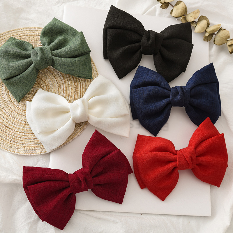 Girls Oversized Bow Knot Hairgrips Linen Barrettes Hair Clip Ponytail Women Elegant Headwear Hairpins Hair Accessories Red White
