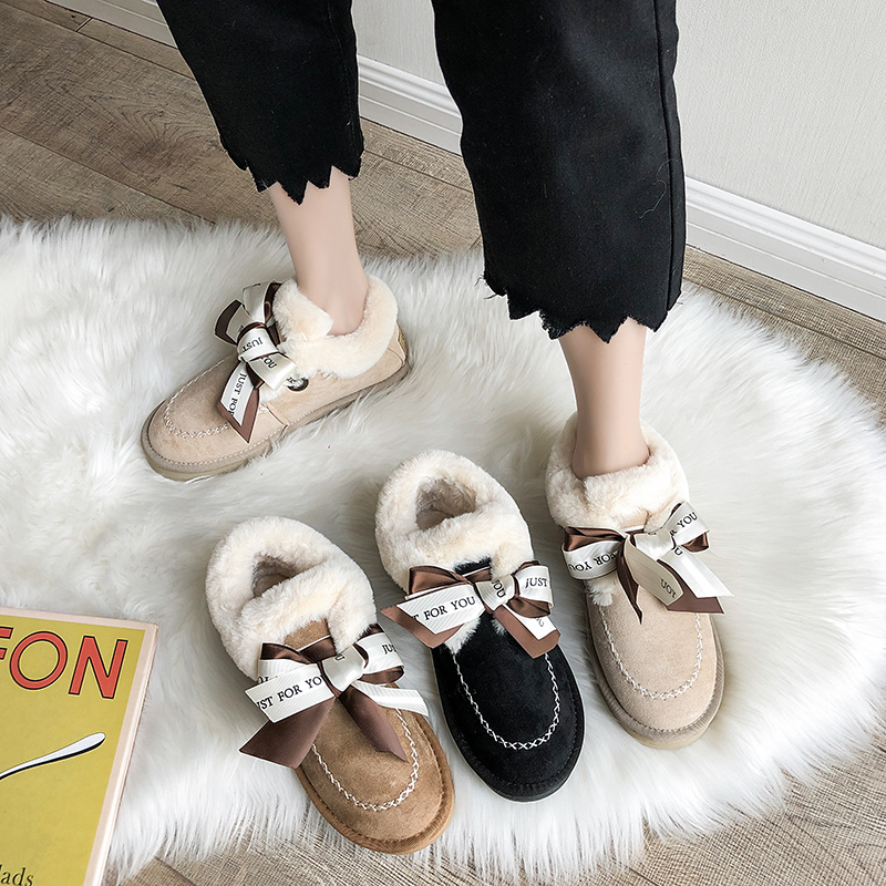 2019 Women Snow Boots Winter Ankle Boot Female Bow Warmer Plush Suede Rubber Flat Slip On Fashion Platform Ladies Shoes 27